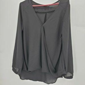 Lush blouse XL black semi sheer draped deep v neck